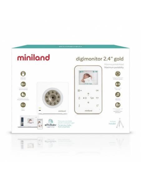 miniland-cámara-vigilabebés-digimonitor-2,4-pulgadas-gold-caja
